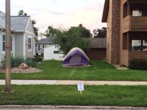 tent in neighborhood